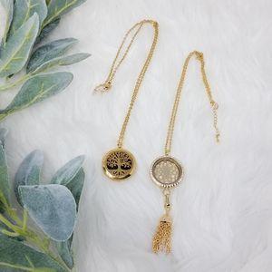 SOUTH HILL Golden Locket Necklace Lot Set